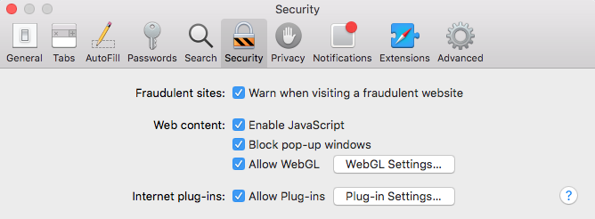 Safari Security Tab