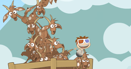 Poptropica avatar capturing Cryptids Island goats