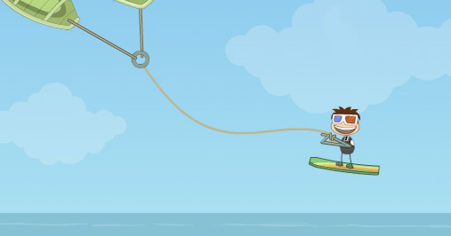 Poptropica avatar kite surfing in Cryptids Island bay