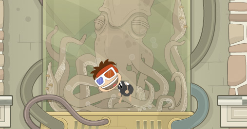 Poptropica avatar trapped in Octopus tank on Cryptids Island