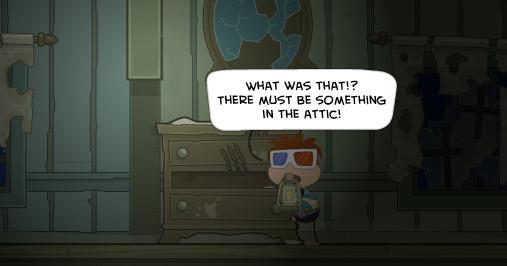 Poptropica avatar exploring a mysterious noise on Cryptids Island
