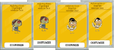 Mythology Island Members Only Items and Cards