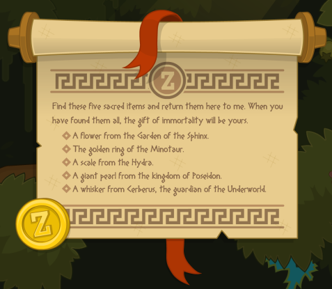 Poptropica Mythology Scroll