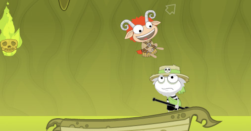 Poptropica avatars exploring Mythology Island in a boat