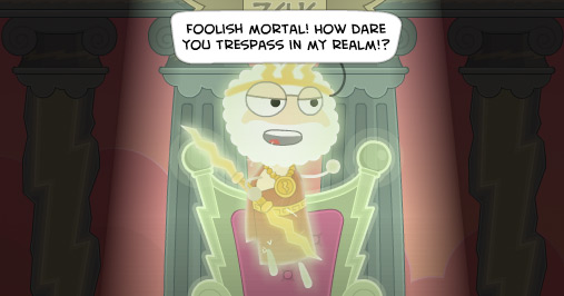Poptropica avatars tresspassing on Mythology Island angers powerful Zeus