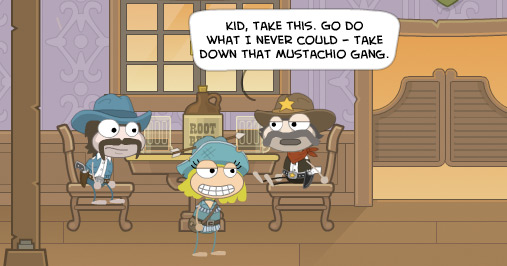 Poptropica avatars in a Wild West Island saloon