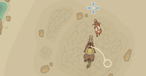 Bird's-eye view of Poptropica avatar lassoing a bull in Wild West Island