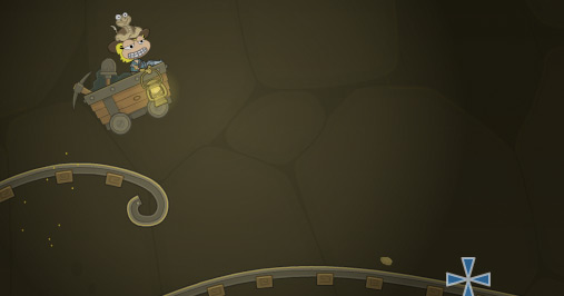 Poptropica avatar riding an abandoned mine cart in Wild West Island