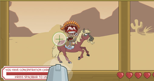 Poptropica avatar taking aim at El Mustachio Grande in Wild West Island