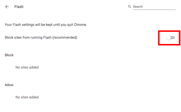 Chrome Flash Settings - Before